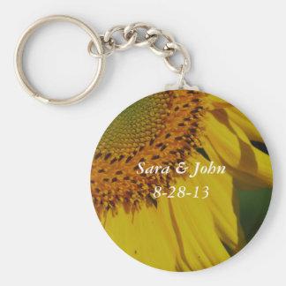 Yellow Sunflower Wedding Favor Keychain