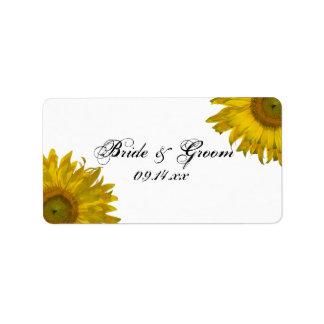 Yellow Sunflower Wedding Favor Tag Label
