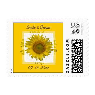 Yellow Sunflower Wedding Favors Postage