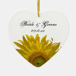 Yellow Sunflower Wedding Heart Ornament