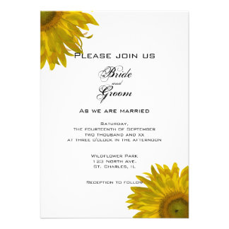 Yellow Sunflower Wedding Invitation