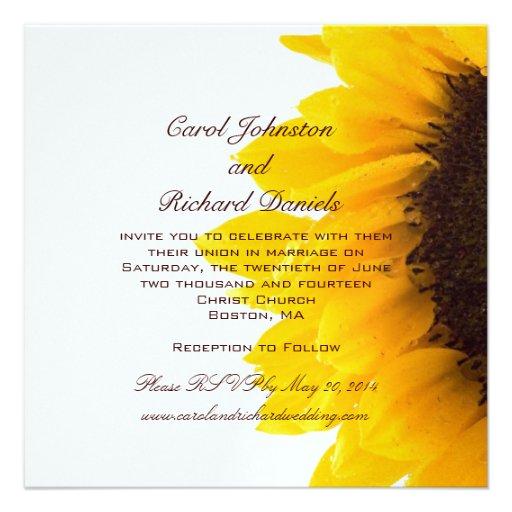 Yellow Sunflower Wedding Invitations 525 Square Invitation Card