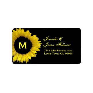 Yellow Sunflower Wedding Personalized Address Label