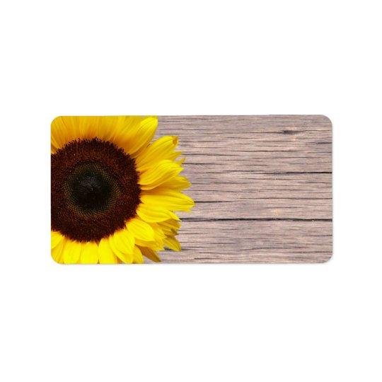 yellow sunflower wedding or general blank address label