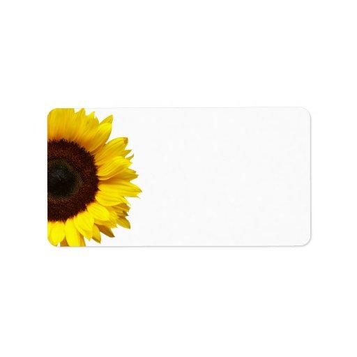 Yellow Sunflower Wedding or General Blank Address Personalized Address Label