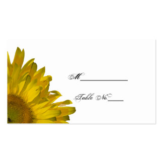 Yellow Sunflower Wedding Place Card Double-Sided Standard Business Cards (Pack Of 100)