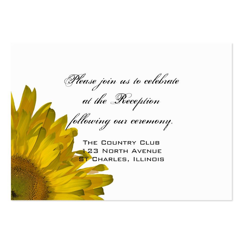 Yellow Sunflower Wedding Reception Card Business Card