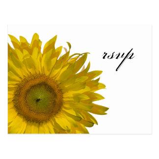 Yellow Sunflower Wedding RSVP Response Postcard