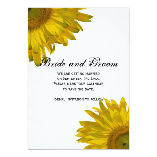 Yellow Sunflower Wedding Save the Date Annoucement 5x7 Paper Invitation Card