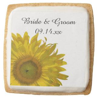 Yellow Sunflower Wedding Square Shortbread Cookie