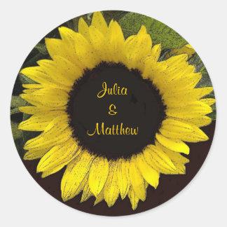 Yellow Sunflower Wedding Sticker