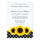 Yellow Sunflower White and Black Polka Dot Wedding Card