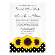 Yellow Sunflower White and Black Polka Dot Wedding Custom Invite