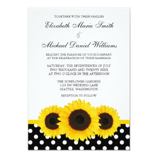 "Yellow Sunflower White and Black Polka Dot Wedding 5"" X 7"" Invitation Card"