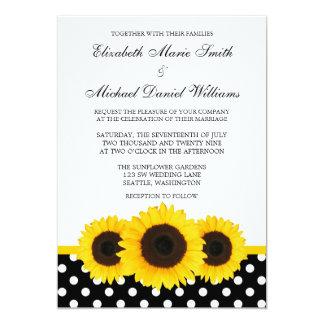 Yellow Sunflower White and Black Polka Dot Wedding 5x7 Paper Invitation Card