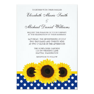 Yellow Sunflower White and Blue Polka Dot Wedding 5x7 Paper Invitation Card