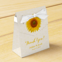 Yellow Sunflower White Lace Wedding Thank You Favor Box
