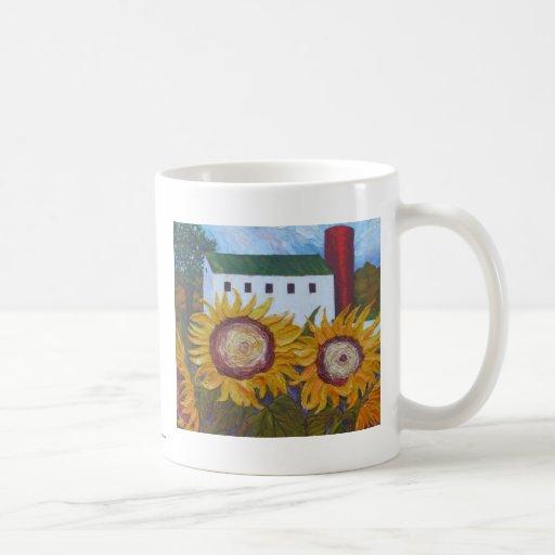 Yellow Sunflowers and Barn Coffee Mug
