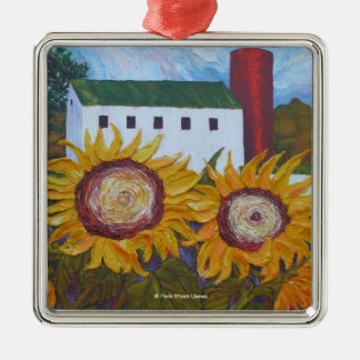 Yellow Sunflowers and Barn Ornament