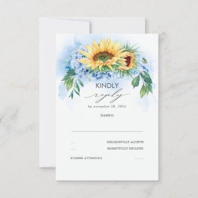 Yellow Sunflowers and Dusty Blue Hydrangea Wedding RSVP Card