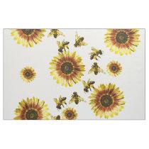 Yellow Sunflowers and Honey Bees Summer Pattern Fabric