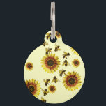 """Yellow Sunflowers and Honey Bees Summer Pattern Pet ID Tag<br><div class=""""desc"""">This summery and cute summer sunflowers and honey bees pattern on pale yellow is perfect for the trendy and stylish woman. Its playful and cool design is great for many gifts and occasions; for yourself,  your friends,  or your family. Enjoy this bright and charming pattern for your next purchase!</div>"""
