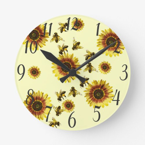 Yellow Sunflowers and Honey Bees Summer Pattern Round Clock