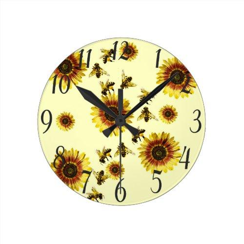 Yellow Sunflowers and Honey Bees Summer Pattern Round Clock