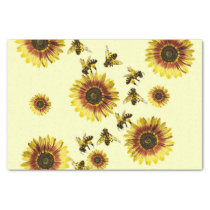 Yellow Sunflowers and Honey Bees Summer Pattern Tissue Paper