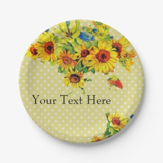 Yellow Sunflowers and Polka dot Paper Plate