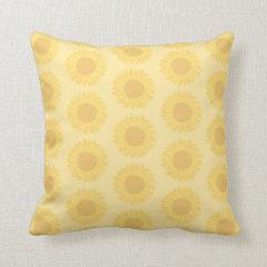 Yellow Sunflowers Background Pattern. Pillows