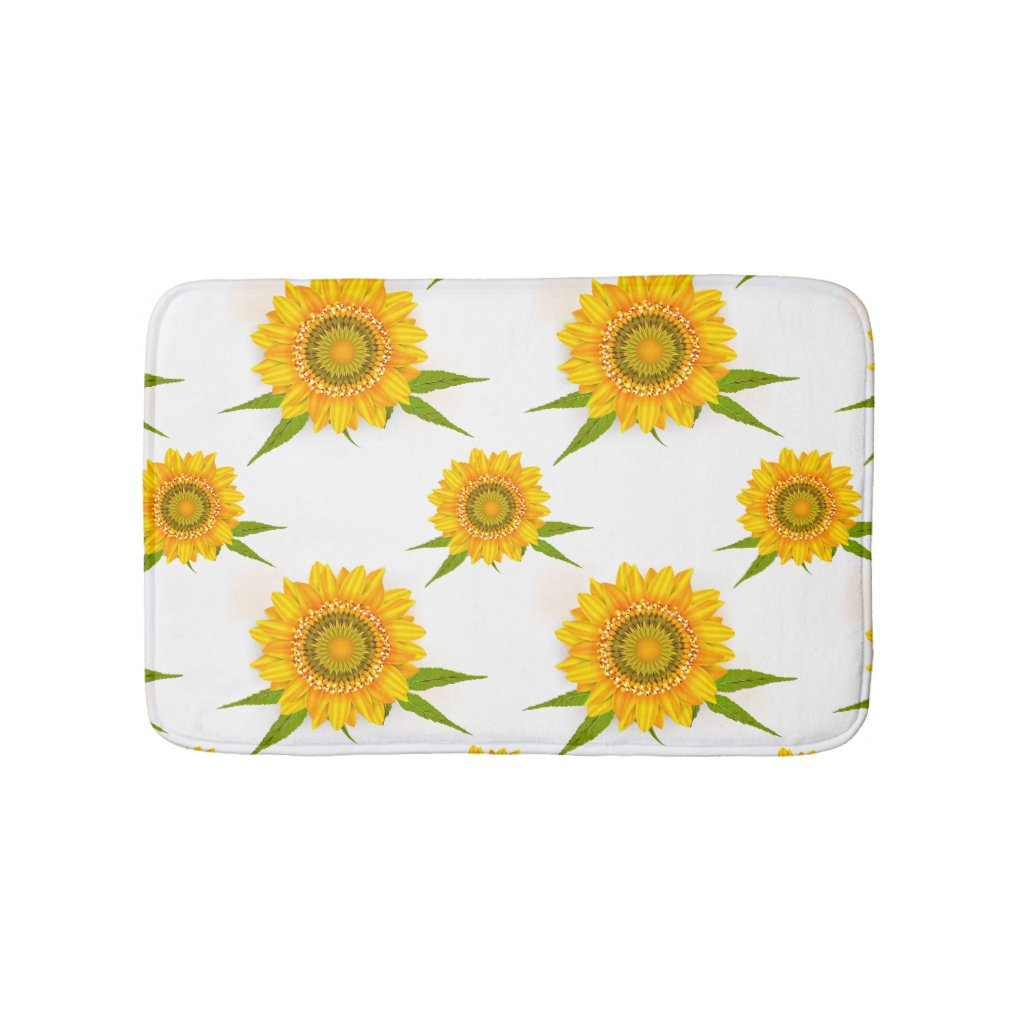 Yellow Sunflowers Bathmat