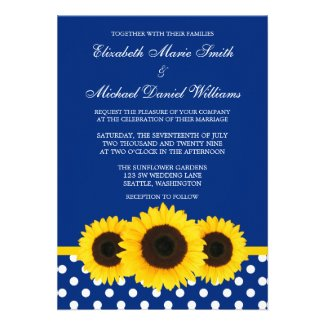 Yellow Sunflowers Blue and White Polka Dot Wedding Invitations
