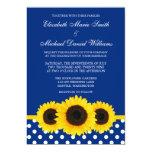 Yellow Sunflowers Blue and White Polka Dot Wedding Invitations