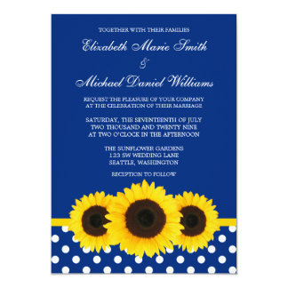Yellow Sunflowers Blue and White Polka Dot Wedding 5x7 Paper Invitation Card