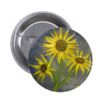 Yellow Sunflowers Blue Sky Oil Painting Button
