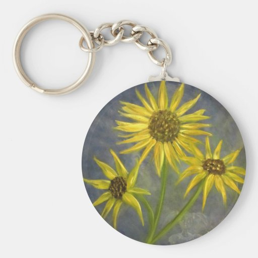 Yellow Sunflowers Blue Sky Oil Painting Basic Round Button Keychain