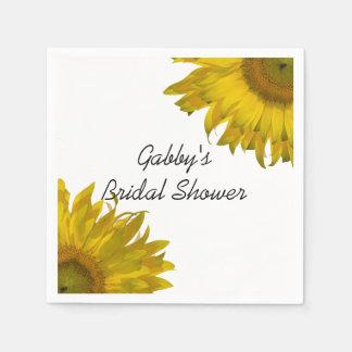 Yellow Sunflowers Bridal Shower Standard Cocktail Napkin