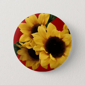 Yellow Sunflowers Burgundy Button