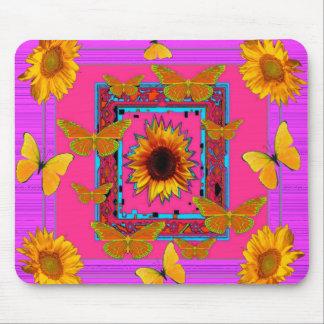 yellow sunflowers butterflies pink art mouse pad