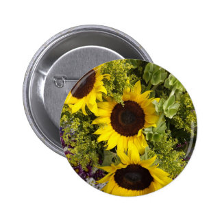 Yellow Sunflowers Button