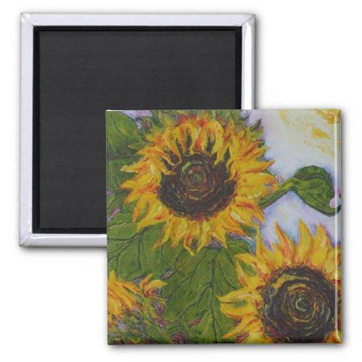 Yellow Sunflowers by Paris Wyatt Llanso Refrigerator Magnet