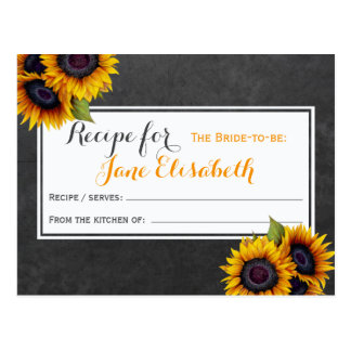 Yellow sunflowers chic bride to be recipe card