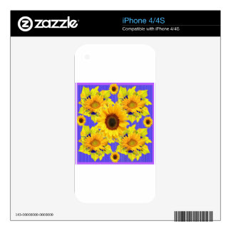 Yellow Sunflowers Lilac Pattern  gifts iPhone 4 Skins