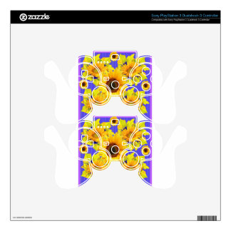 Yellow Sunflowers Lilac Pattern  gifts PS3 Controller Decal
