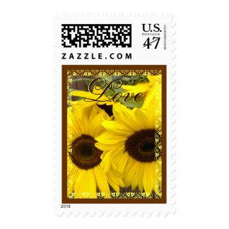 Yellow Sunflowers LOVE Wedding Stamp