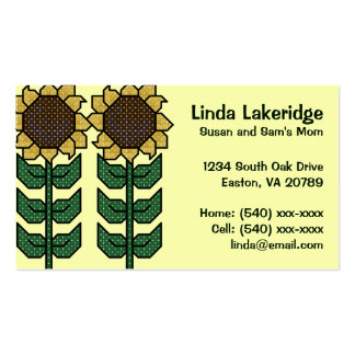 Yellow Sunflowers Mommy Contact  Info Card Double-Sided Standard Business Cards (Pack Of 100)