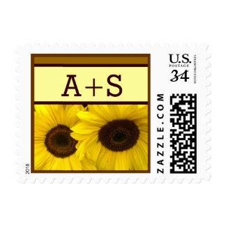 Yellow Sunflowers MONOGRAMS Wedding Stamp
