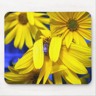 Yellow Sunflowers N Blue Bee Mousepad