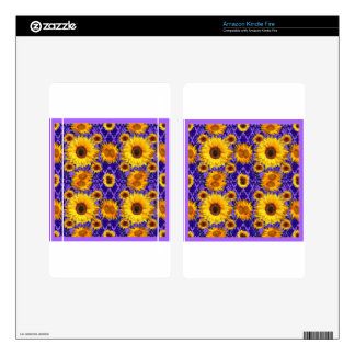 Yellow Sunflowers On Amethyst Color Gifts Kindle Fire Decal